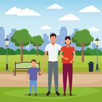 Cartone animato di persone di famiglia