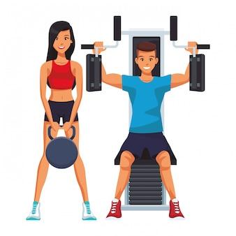 Cartone animato di persone fitness