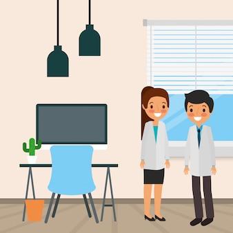 Cartone animato di persone mediche