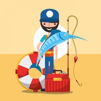 Cartone animato di pesca del pescatore