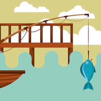Cartone animato di pesca del pesce