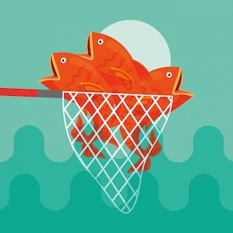 Cartone animato di pesce pescato