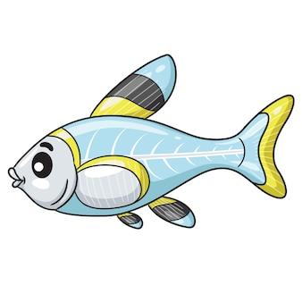 Cartone animato di pesci a raggi x