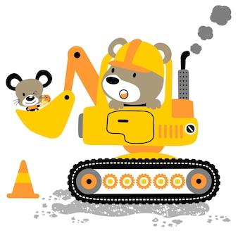 Cartone animato di piccoli animali sullo strumento pesante