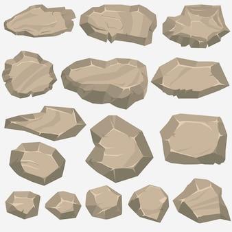 Cartone animato di pietra di roccia in stile piano. set di diversi massi
