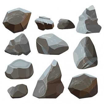 Cartone animato di pietre. illustrazioni rocciose della pietra per lastricare delle montagne della roccia isolate su bianco