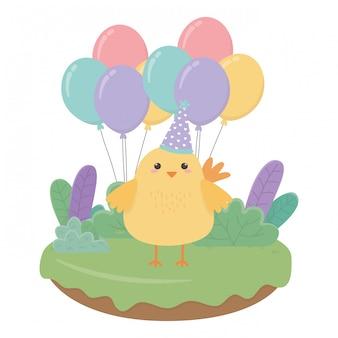 Cartone animato di pollo con buon compleanno