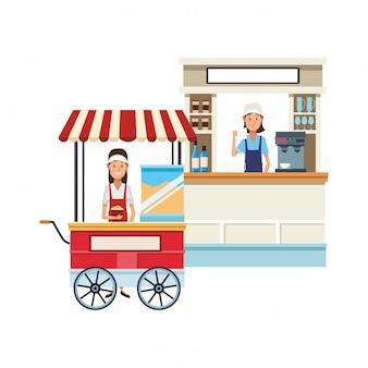 Cartone animato di pop corn cart