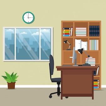 Cartone animato di posto di lavoro in ufficio