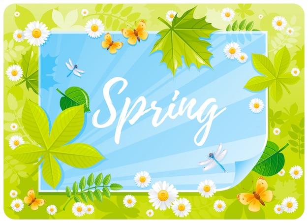 Cartone animato di primavera con farfalle, fiori di camomilla, foglie di alberi