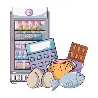 Cartone animato di prodotti alimentari supermercato