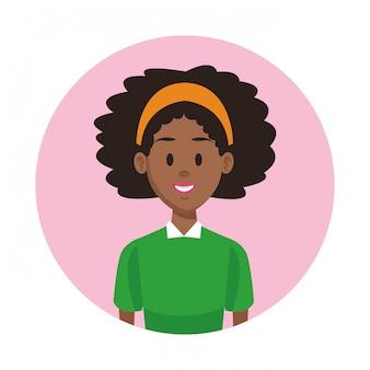 Cartone animato di profilo di donna