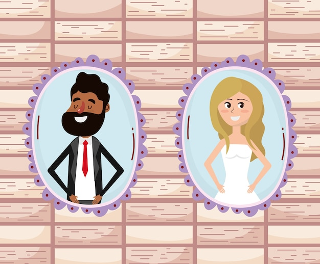 Cartone animato di progettazione di carta di nozze
