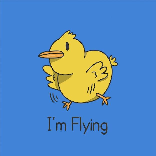 Cartone animato di pulcino volante