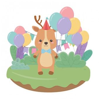 Cartone animato di renne con buon compleanno
