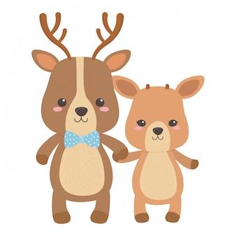 Cartone animato di renne e cervi