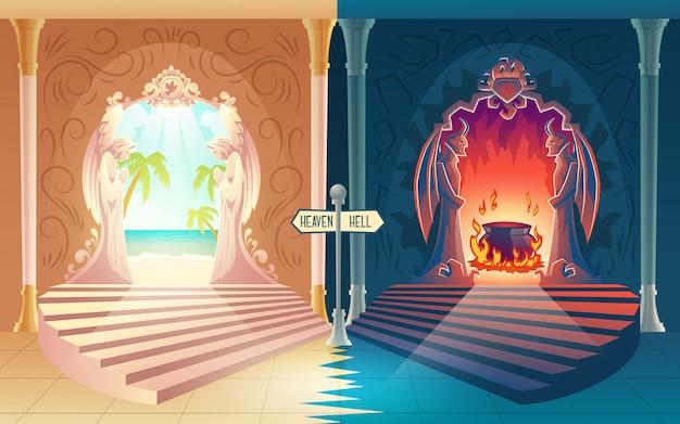 Cartone animato di ricompensa dopo la vita con scale verso il paradiso e cancelli infernali con angeli in preghiera e demoni cornuti