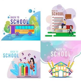 Cartone animato di ritorno a scuola