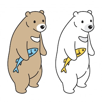 Cartone animato di salmone di pesca polare vettore orso