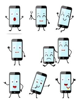 Cartone animato di smartphone con diversa posa