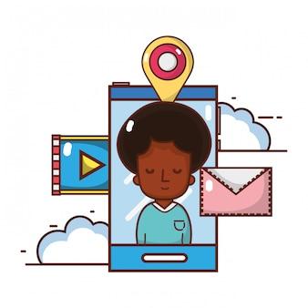 Cartone animato di smartphone tecnologia