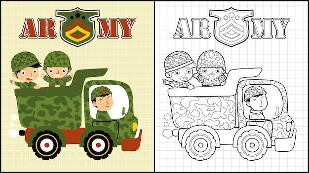 Cartone animato di soldati sul camion militare