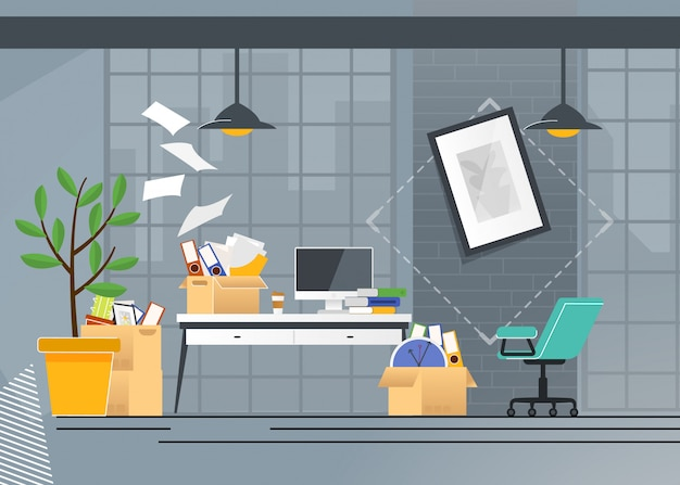 Cartone animato di spostamenti e trasporti dell'ufficio aziendale
