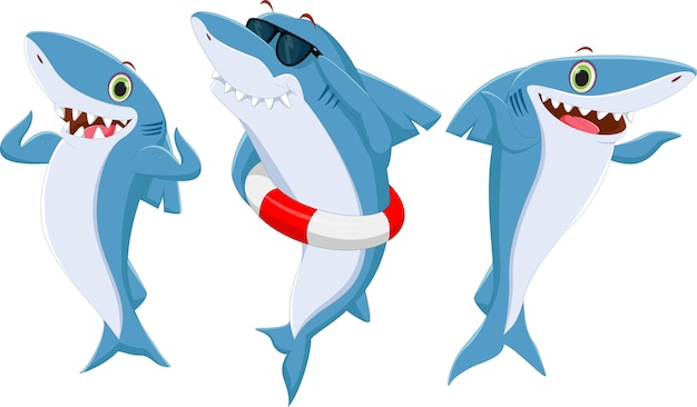 Cartone animato di squalo felice