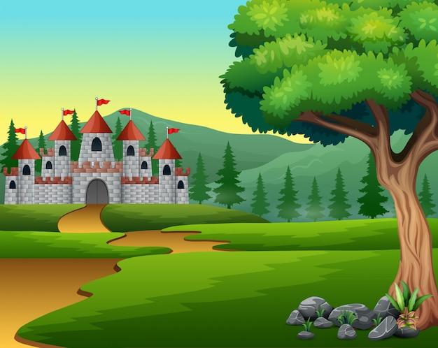 Cartone animato di strada collinare al castello