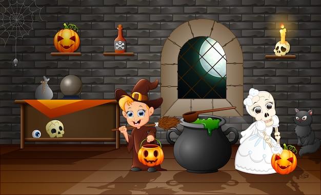 Cartone animato di strega e teschio sposa