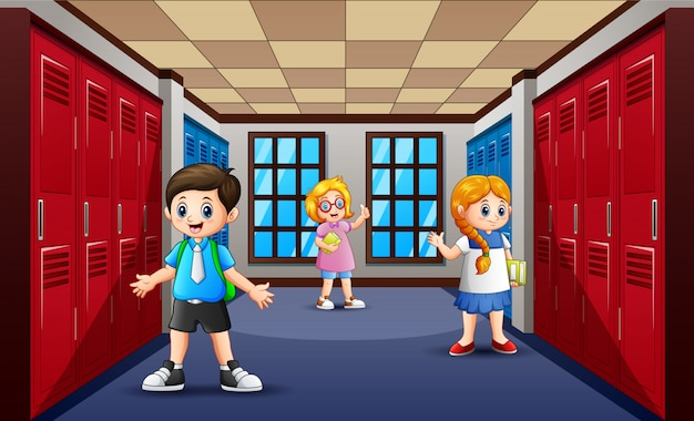 Cartone animato di studente al corridoio della scuola