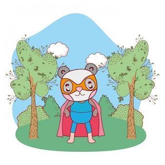 Cartone animato di supereroe panda bear all'aperto