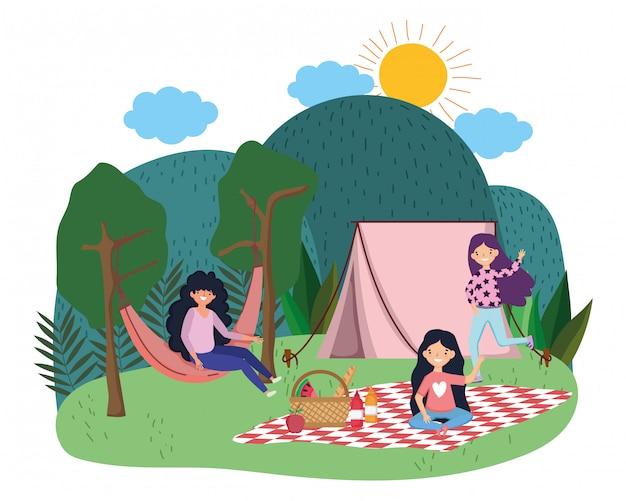 Cartone animato di tende e donne