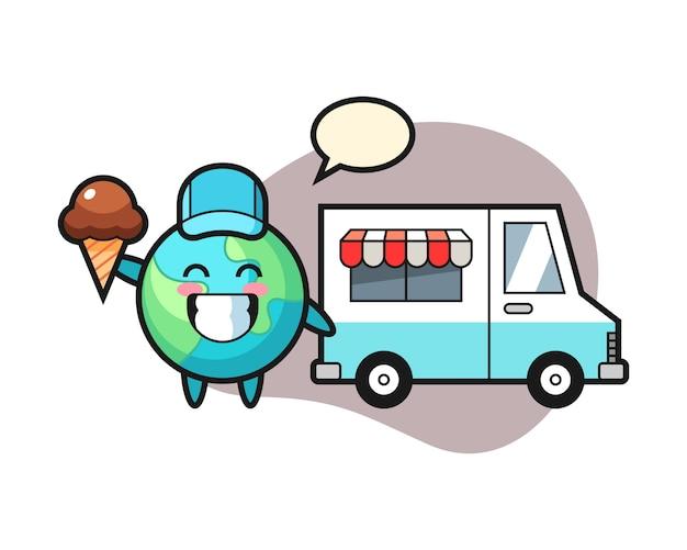 Cartone animato di terra con camion di gelati