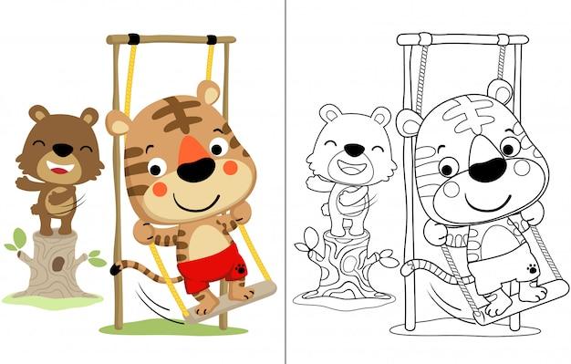 Cartone animato di tigre e orso giocando altalena