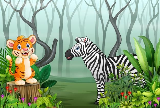 Cartone animato di tigre e zebra nella foresta nebbiosa