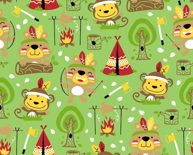 Cartone animato di tribù indiane di animali sul vettore senza cuciture