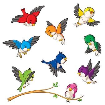 Cartone animato di uccelli