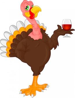 Cartone animato di uccello carino tacchino che tiene vino