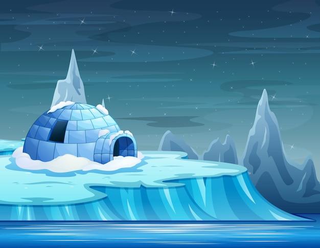 Cartone animato di un iceberg con un igloo