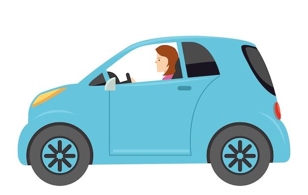 Cartone animato di una bella ragazza con l'auto