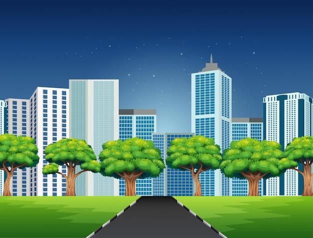 Cartone animato di una scena di città con la strada per il centro