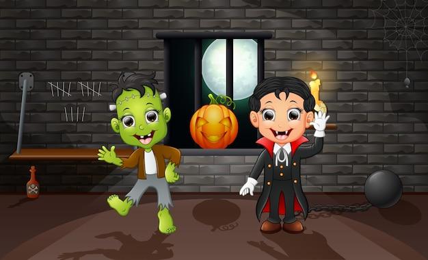 Cartone animato di vampiro e frankenstein