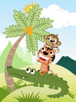 Cartone animato di vettore del mucchio di simpatici animali tenta di raccogliere noci di cocco