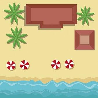 Cartone animato di vista superiore spiaggia