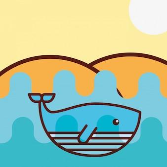 Cartone animato di vita di mare di balena