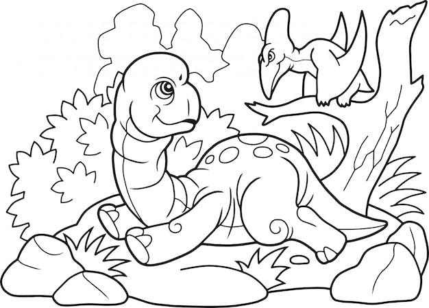 Cartone animato dinosauro brachiosauro