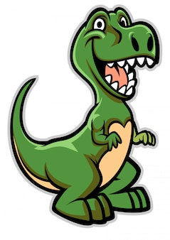 Cartone animato dinosauro felice