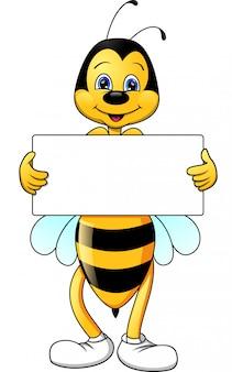 Cartone animato divertente ape con segno bianco