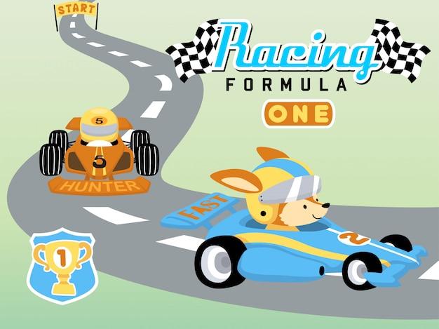 Cartone animato divertente auto da corsa con simpatico animale